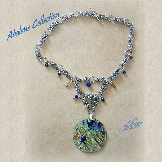 abalon and lapis chainmaille necklace