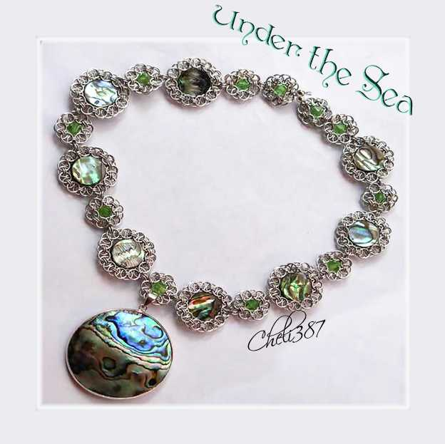 abalone and peridot chaninmaille necklace