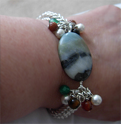 agate & gemstones wimsical chainmaille silver bracelet