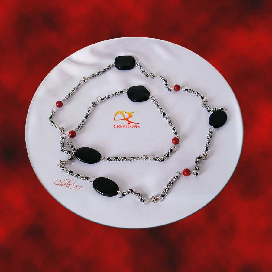 agate onyx coral long neckl