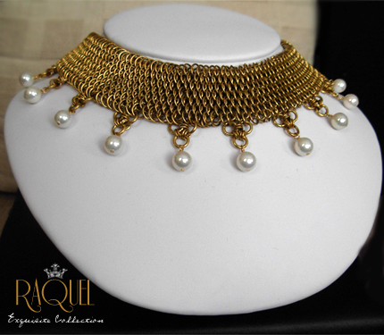 brass dragonscale collar with pearls
