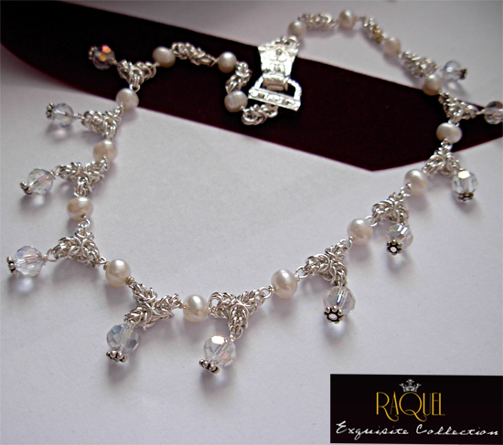 bridal pearl crystal byzantine silver necklace & earrings set