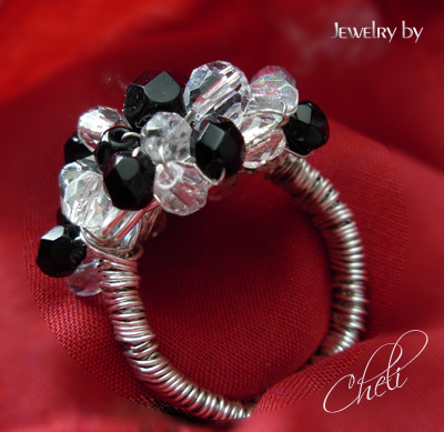 cluster ring with black and clear swarovski crystals