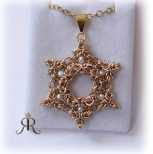 golden magen david w freshwater pearls