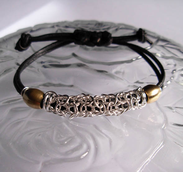 leather and silver unisex bracelet