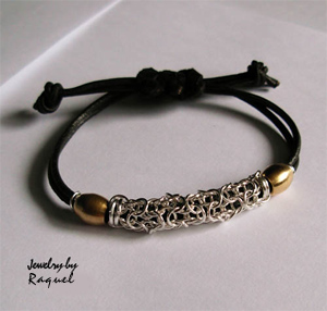 leather and sterling silver bracelet