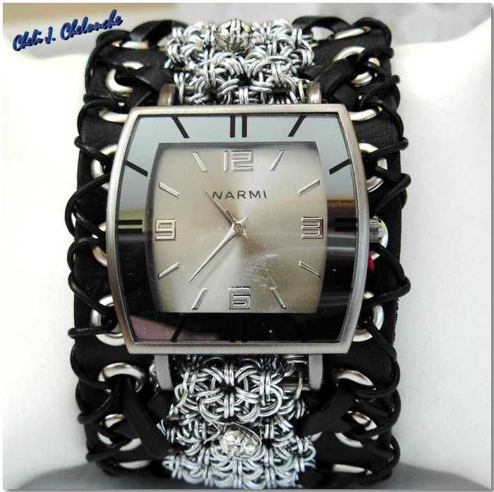 leather biker wristwatch