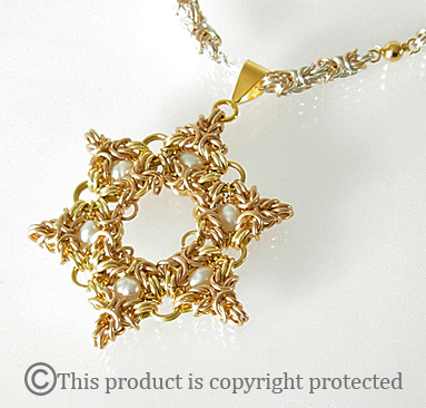 magen david in gold and pearls