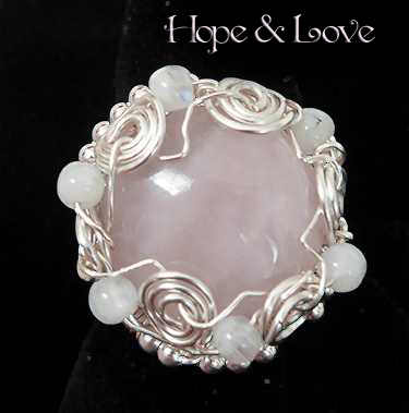 rose quartz and moonstones hope and love silver ring