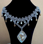 pearl and jasper chainmail necklace
