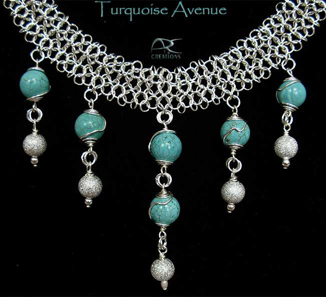 Turquoise and silver chainmaille necklace set