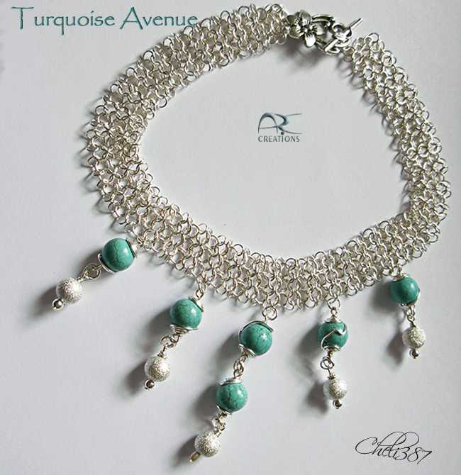 Turquoise silver avenue necklace set