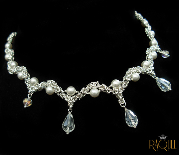 waves of pearls bridal necklace