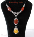 amber agate chainmaille necklace