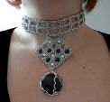 geometric chainmaille onyx necklace