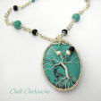 turquoise and pearls tree of life necklace